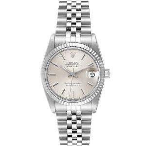 Rolex Silver 18K White Gold And Stainless Steel Datejust 68274 Women's Wristwatch 31 MM