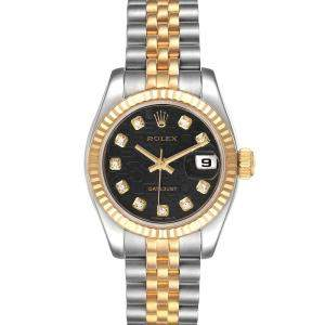 Rolex Black Diamonds 18K Yellow Gold And Stainless Steel Datejust 179173 Women's Wristwatch 26 MM