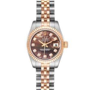Rolex Black MOP Diamonds 18K Rose Gold And Stainless Steel Datejust 179171 Women's Wristwatch 26 MM