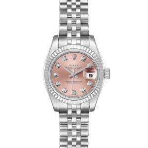 Rolex Salmon Diamonds 18K White Gold And Stainless Steel Datejust 179174 Women's Wristwatch 26 MM