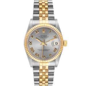 ساعة يد نسائية رولكس ديتجاست 68273 ستانلس ستيل وذهب أصفر عيار 18 رمادي 31 مم