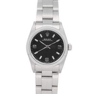 ساعة يد نسائية رولكس أويستر بربتشوال 77080  ستانلس ستيل سوداء 31مم