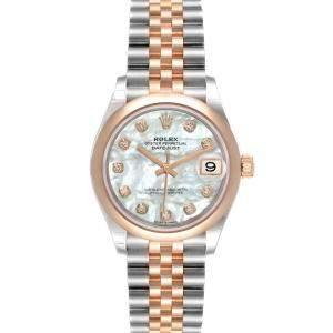 Rolex MOP Diamonds 18K Rose Gold And Stainless Steel Datejust 278241 Women's Wristwatch 31 MM