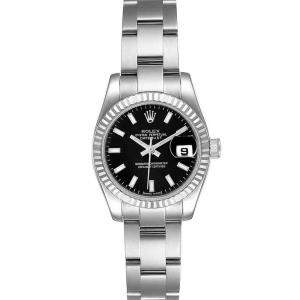 Rolex Black 18K White Gold And Stainless Steel Datejust 179174 Women's Wristwatch 26 MM