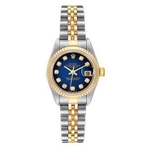 Rolex Blue Diamonds 18K Yellow Gold And Stainless Steel Datejust 79173 Women's Wristwatch 26 MM