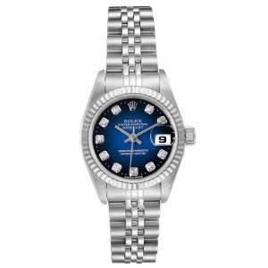 Rolex Blue Diamonds 18K White Gold And Stainless Steel Datejust 69174 Women's Wristwatch 26 MM