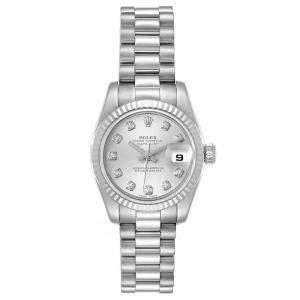 Rolex Silver Diamonds 18K White Gold President Datejust 179179 Women's Wristwatch 26 MM