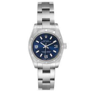 ساعة يد نسائية رولكس أويستر بيربيتوال 176210 ستانلس ستيل زرقاء 26 مم