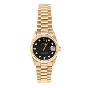ساعة يد نسائية رولكس ديت جست 68278 ذهب أصفر عيار 18 ألماس سوداء 31 مم