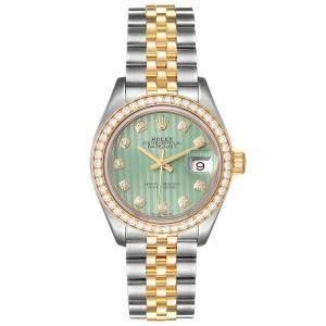 Rolex Green Diamonds 18K Yellow Gold And Stainless Steel Datejust 279383 Women's Wristwatch 28 MM