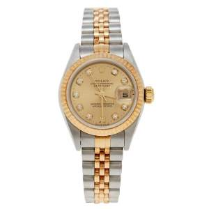 Rolex Champagne 18K Yellow Gold and Stainless Steel Diamonds Datejust 79173 Women's Wristwatch 26 mm