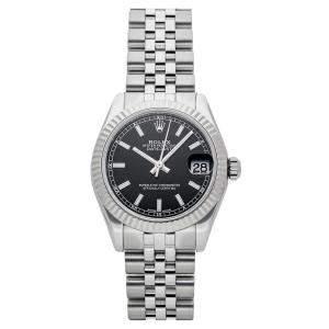 ساعة يد نسائية رولكس ديت جست 178274 ستانلس ستيل وذهب أبيض عيار 18 سوداء 31 مم