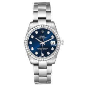 Rolex Blue Diamonds 18k White Gold And Stainless Steel Datejust 178384 Women's Wristwatch 31 MM