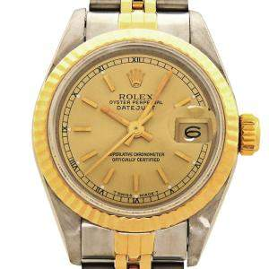 Rolex Champagne 18K Yellow Gold And Stainless Steel Datejust (1990-1991) 69173 Women's Wristwatch 26 MM