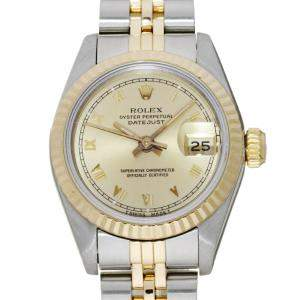 Rolex Champagne 18K Yellow Gold And Stainless Steel Datejust 69173 (1989) Women's Wristwatch 26 MM