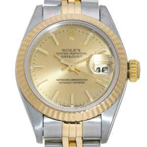 Rolex Champagne 18K Yellow Gold And Stainless Steel Datejust 69173 (1994) Women's Wristwatch 26 MM