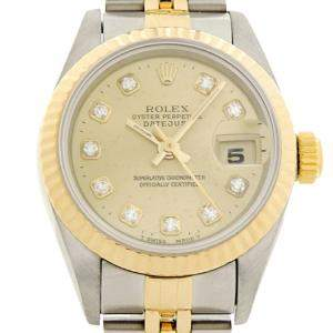 Rolex Champagne Diamonds 18K Yellow Gold And Stainless Steel Datejust (1994-1995) 69173 Women's Wristwatch 26 MM