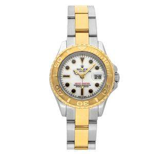 Rolex White 18k Yellow Gold And Stainless Steel Yacht-Master 169623 Women's Wristwatch 29 MM