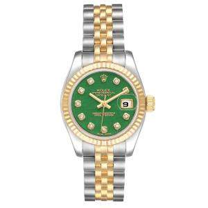 Rolex Green Jade Diamonds 18K Yellow Gold And Stainless Steel Datejust 179173 Women's Wristwatch 26 MM