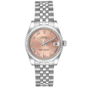 Rolex Salmon 18K White Gold And Stainless Steel Datejust 178274 Women's Wristwatch 31 MM