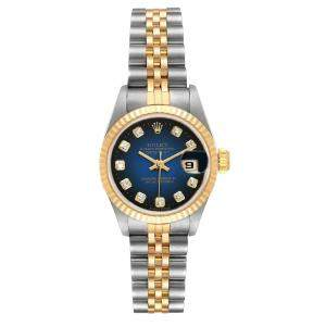 Rolex Blue Diamonds 18K Yellow Gold And Stainless Steel Datejust 69173 Women's Wristwatch 26 MM