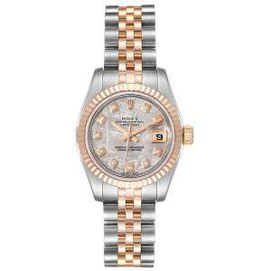 Rolex Silver Diamonds 18K Rose Gold And Stainless Steel Datejust 179171 Women's Wristwatch 26 MM