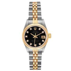 Rolex Black Diamonds 18K Yellow Gold And Stainless Steel Datejust 69173 Automatic Women's Wristwatch 26 MM
