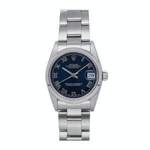 Rolex Blue Stainless Steel Datejust 68240 Women's Wristwatch 31 MM