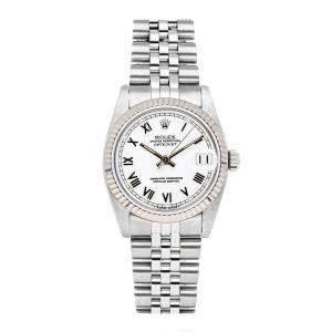 Rolex White Stainless Steel Datejust 68274 Women's Wristwatch 31 MM