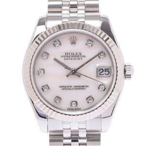 Rolex MOP 18K White Gold And Stainless Steel Datejust 178274NG Women's Wristwatch 26 MM