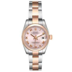Rolex Salmon 18K Rose Gold And Stainless Steel Datejust 179161 Women's Wristwatch 26 MM