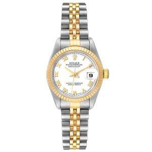 Rolex White 18K Yellow Gold And Stainless Steel Datejust 79173 Women's Wristwatch 26 MM