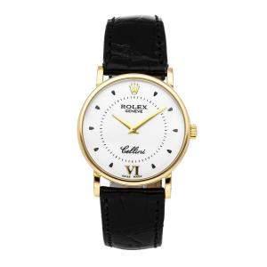 Rolex White 18K Yellow Gold Cellini 5115/8 Women's Wristwatch 32 MM