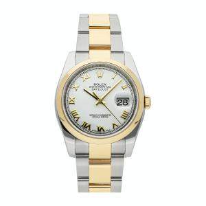 Rolex White 18K Yellow Gold And Stainless Steel Datejust 116203 Women's Wristwatch 36 MM