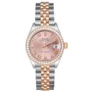 Rolex Salmon Diamonds 18K Rose Gold And Stainless Steel Datejust 279381 Women's Wristwatch 28 MM
