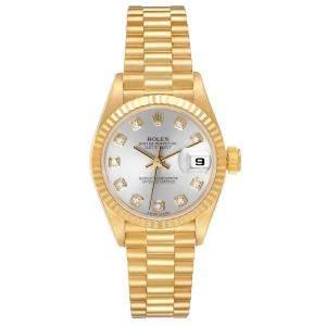 Rolex Silver Diamonds 18K Yellow Gold President Datejust 69178 Women's Wristwatch 26 MM