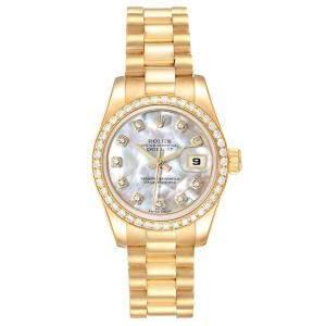 Rolex MOP Diamonds 18k Yellow Gold President 179138 Women's Wristwatch 26 MM