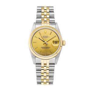 ساعة يد نسائية رولكس ديت جست 68273 ستانلس ستيل وذهب أصفر عيار 18 شامبانيا 31 مم