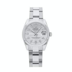 ساعة يد نسائية رولكس ديت جست 178240 ستانلس ستيل فضية 31مم