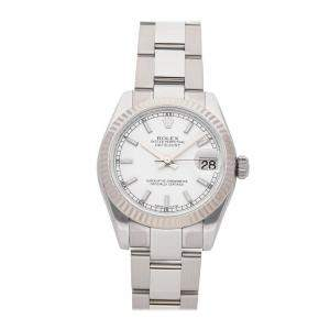 Rolex White 18k White Gold And Stainless Steel Datejust 178274 Women's Wristwatch 31 MM