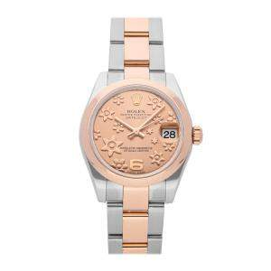 Rolex Salmon 18K Rose Gold And Stainless Steel Datejust 178241 Automatic Women's Wristwatch 31 MM