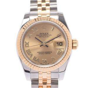 Rolex Champagne 18k Yellow Gold And Stainless Steel Datejust 179173 Women's Wristwatch 26 MM
