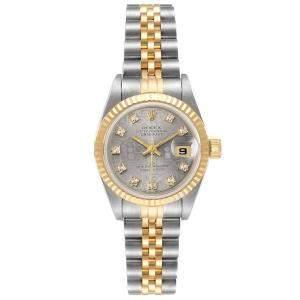 Rolex Grey Diamonds 18K Yellow Gold And Stainless Steel Datejust 69173 Women's Wristwatch 26 MM