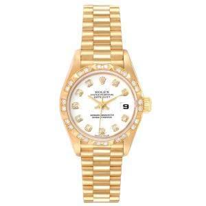 Rolex White Diamonds 18K Yellow Gold President Datejust 79258 Women's Wristwatch 26 MM