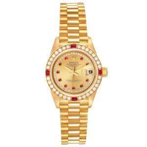 Rolex Champagne Diamonds Ruby 18k Yellow Gold President 69068 Women's Wristwatch 26 MM