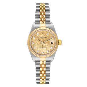 Rolex Champagne Diamonds 18K Yellow Gold And Stainless Steel Datejust 79173 Automatic Women's Wristwatch 26 MM