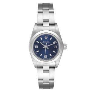 Rolex Blue Stainless Steel Oyster Perpetual 76080 Women's Wristwatch 24 MM