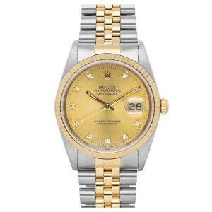 Rolex Champagne Diamonds 18k Yellow Gold And Stainless Steel Datejust 16233 Women's Wristwatch 36 MM