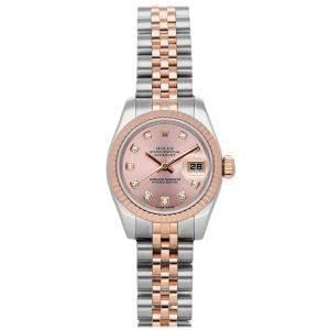 Rolex Salmon Diamonds 18K Rose Gold And Stainless Steel Datejust 179171 Women's Wristwatch 26 MM