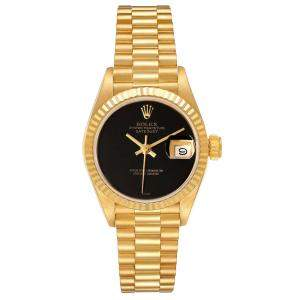 Rolex Black Onyx 18K Yellow Gold President Datejust 69178 Women's Wristwatch 26 MM